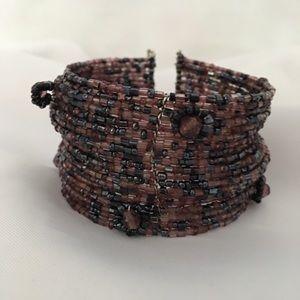 Dressy Boho Seed Bead Cuff Bracelet